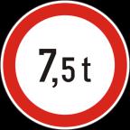 2222 Prepovedan promet za vozila, katerih skupna masa presega določeno maso