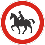 2213-1 Prepovedan promet za vprežna vozila oziroma jahače, goniče in vodiče živali