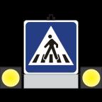 MS10203 Prometni znak ZNO Pešec 900x900 Dvostranski z lučjo in dvakrat dvojno utripalko
