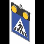 MS10279 Znak z notranjo osvetlitvijo PZ2431, 600x600, dvostranski, ZV, s svetlobnimi utripalniki