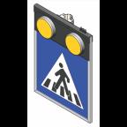 MS10271 Znak z notranjo osvetlitvijo PZ2431, 600x600, enostranski, HV, s svetlobnimi utripalniki